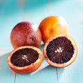 Blood oranges cut in half Royalty Free Stock Photo