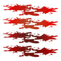 Blood puddle, red drop, blots, stain, plash od blood. Vector illustration on white background.