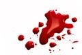 Blood splatter stains puddle pool isolated on white background close up horizontal Royalty Free Stock Photo