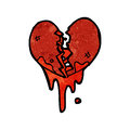 Blood splattered heart cartoon Royalty Free Stock Photos