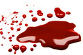 Blood stains puddle isolated white background Stock Photo