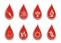 Blood test icons set of eight in red drops Royalty Free Stock Photography