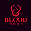 Blood transfusion inscription isolated on white and made using v