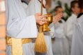 Blood, wine and holy water. Mass in the Church Royalty Free Stock Photo