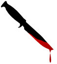 Blooded bowie knife silhouette of a with blood over white Royalty Free Stock Images