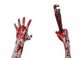 Bloody hand holding an adjustable wrench, bloody key, crazy plumber, bloody theme, halloween theme, white background,isolated Royalty Free Stock Photo