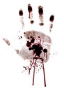 Bloody hand-print painted isolated Stock Images
