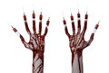 Bloody hand with syringe on the fingers toes syringes hand syringes horrible bloody hand halloween theme zombie doctor white Royalty Free Stock Photos