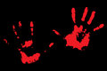 Bloody handprints on black Royalty Free Stock Photo