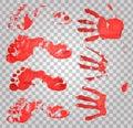 Bloody handprints and feet. Blood splatter