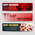 Bloody handprints halloween horizontal banners set Royalty Free Stock Photo