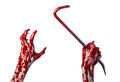Bloody hands with a crowbar hand hook halloween theme killer zombies white background isolated bloody crowbar studio Stock Photography