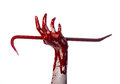 Bloody hands with a crowbar hand hook halloween theme killer zombies white background isolated bloody crowbar studio Royalty Free Stock Image