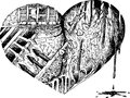 Bloody heart sketched doodle sad broken black and white illustration Stock Photography