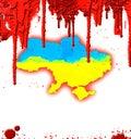Bloody map of ukraine ukrainian with blood revolution in Stock Image