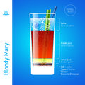 Bloody mary cocktail set of cocktails infographics illustration Royalty Free Stock Image