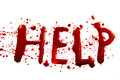 Bloody word help with splatters dropplets stains isolated on white backround Stock Photography