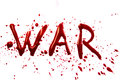 Bloody word war with splatters dropplets stains isolated on white backround Stock Photo