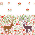 Blooming deers. Seamless vector border with fantasy animals and trees.