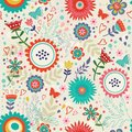 Blooming flowers pattern colorful seamless Stock Photography
