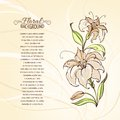 Blooming lilies over brown background vector illustration Royalty Free Stock Images