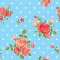 Blooming roses polka dot vintage seamless pattern Stock Images