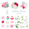 Blooming wedding flowers, tasty cupcakes and leaves big vector c