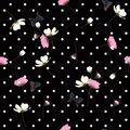 Blooming wild flowers seamless pattern with wihite polka dots o Royalty Free Stock Photo