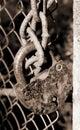 Bloqueo oxidado en encadenamientos Imágenes de archivo libres de regalías