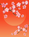 Blossom design an illustration of a simple chinese with pink flowers on black and gold branches and a tangerine sky and su with Stock Photos