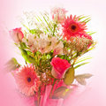 Blossom of roses and lily and gerbera Stock Image