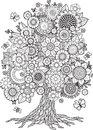 Blossom tree with floral elements vector. Coloring Book For Adult. Doodles For Meditation Royalty Free Stock Photo