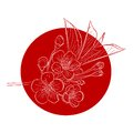 Blossoming cherry tree branch against red sun vector illustration Stock Photo