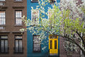 Blossoming tree apartment building manhattan new york city near an old Stock Photo