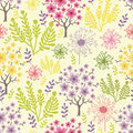 Blossoming trees seamless pattern background vector with colorful spring flowers Stock Images