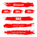 Blots, stains to label, discount, best price. Set of illustration in grunge style. Red grunge banners. Vector illustration EPS10 Royalty Free Stock Photo