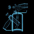 Blow torch d xray blue transparent isolated on black background Stock Photo
