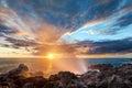 Blowhole on rocky coastline Royalty Free Stock Photo