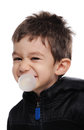 Blowing bubble boy is a Royalty Free Stock Photography