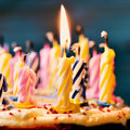 Blowing out the candles of a cake Royalty Free Stock Photo