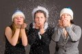 Blowing out snow flakes Stock Image