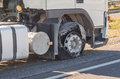 Blown truck front tire Royalty Free Stock Photo