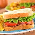 Blt bacon lettuce tomato sandwich fresh homemade and with french fries on blue plate selective focus focus on the front of the Stock Photos