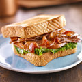 Blt bacon lettuce tomato sandwich with toast off to the side on blue plate Royalty Free Stock Image