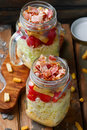 BLT Salad in the maison  jar. Royalty Free Stock Photo