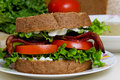 BLT Sandwich with soup Royalty Free Stock Photo