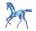 Blu horse color blue graceful running mosaic Royalty Free Stock Photo