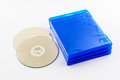 Blu ray disc boxes and blu ray disc isolated on white background Stock Photos