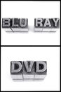 Blu ray and dvd sign in block letters see my other works portfolio Stock Images