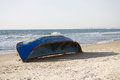 Blue abandoned boat Royalty Free Stock Photo